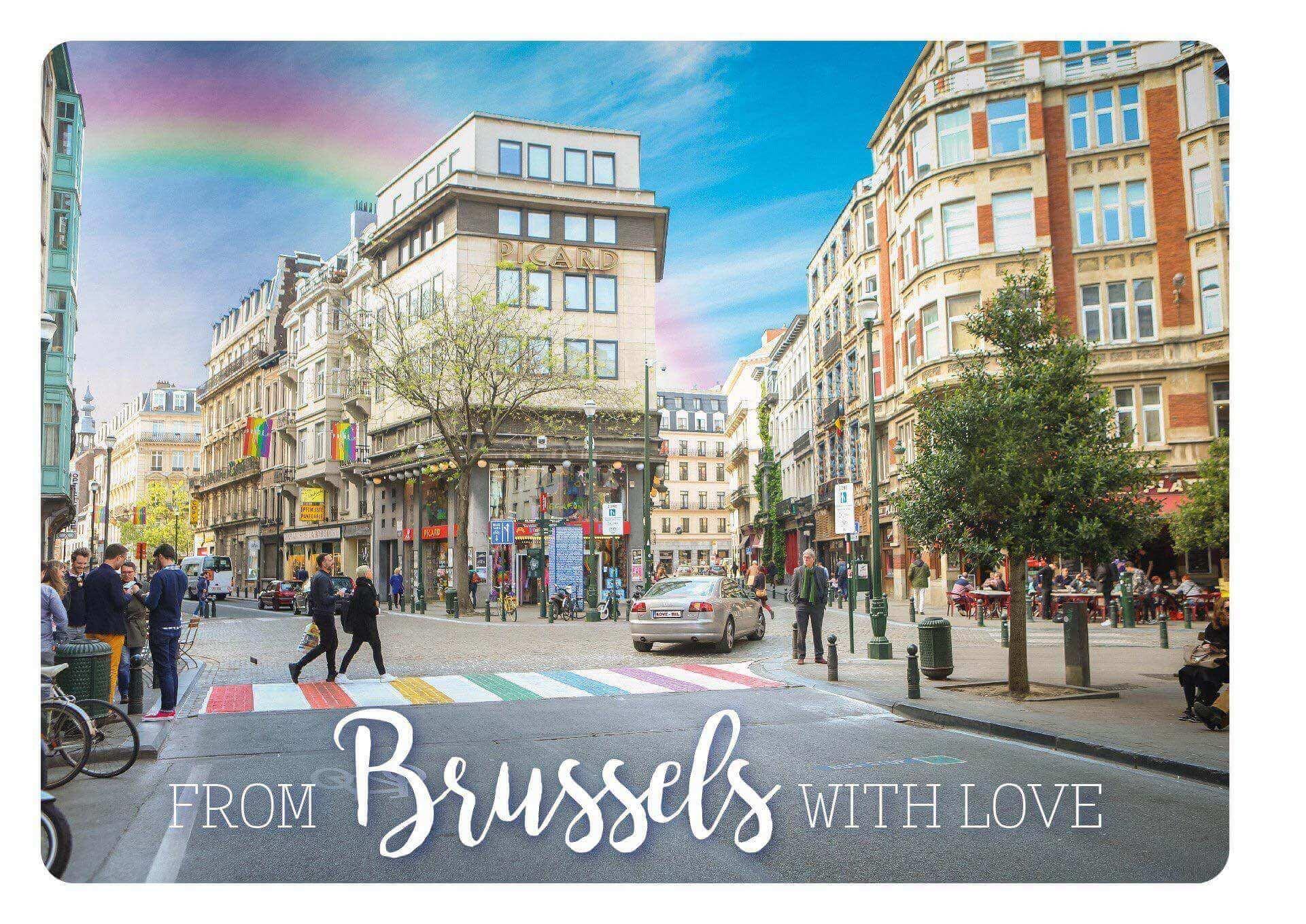 Bruxelles place des passages piétons arc-en-ciel