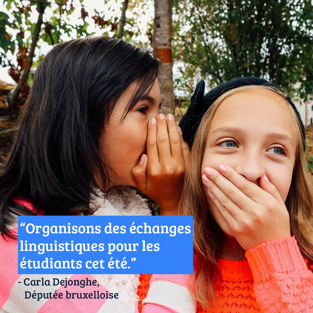Carla Dejonghe demande des échanges linguistiques pour les étudiants pendant les vacances d'été
