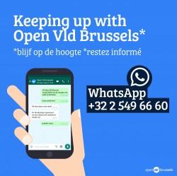 Blijf op de hoogte van onze werking van Open Vld Brussel met WhatsApp