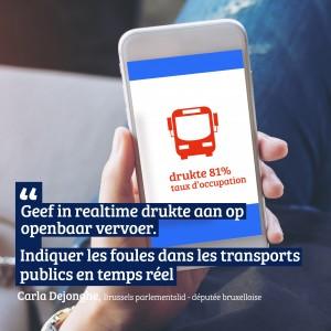 """Carla Dejonghe: """"Geef in realtime drukte aan op openbaar vervoer"""""""