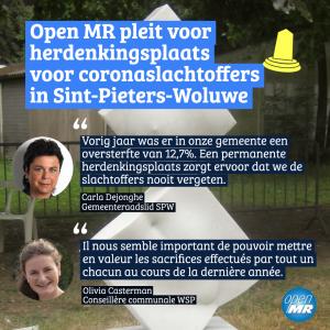 Open MR pleit voor herdenkingsplaats voor coronaslachtoffers  in Sint-Pieters-Woluwe